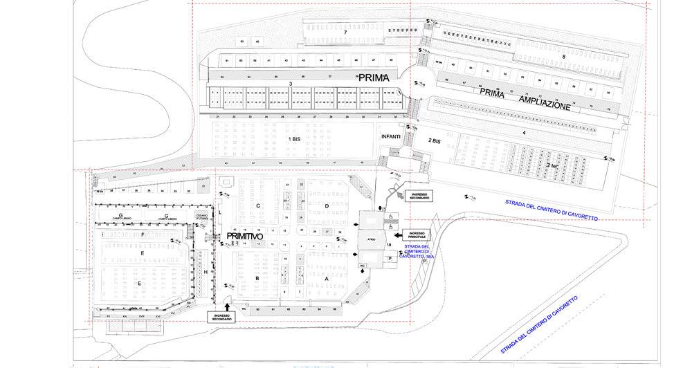 Planimetria del cimitero di Cavoretto