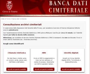 """Screenshot homepage del servizio """"ricerca defunti"""""""